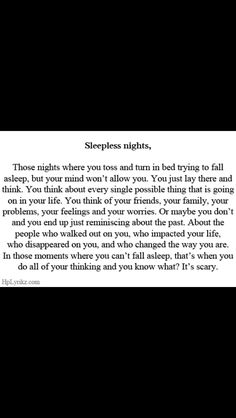 Sleepless nights