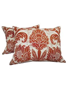 Pair 1950's Fortuny Pillows with a Design of Stylized Flowers | The HighBoy | blog.thehighboy.com