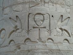Karnak Temple - Ankh and Bee Carvings