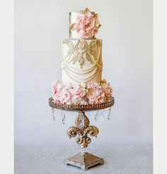 Elegant Cream, Gold and Pink Wedding Cake by Amy Cakes ~ we ❤ this! moncheribridals.com