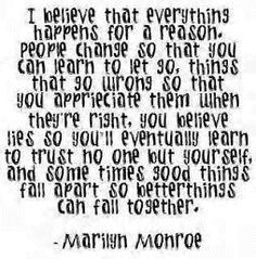 A good reminder, everything happens for a reason. Marilyn Monroe