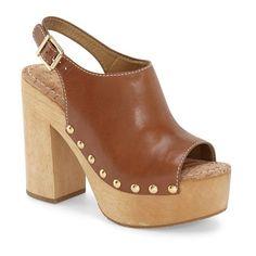"Sam Edelman 'Marley' Slingback Sandal, 5"" heel (€120) ❤ liked on Polyvore featuring shoes, sandals, saddle leather, high heel sandals, high heel platform sandals, black studded sandals, black leather sandals and slingback sandals"