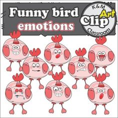 Bird Emotions Clipart, funny bird showing a range of emotions: happy, laughing, bored, angry, scared, dizzy, crying All images are in PNG format, transparent, high resolution (will look crisp enlarged). They can be easily used in your projects and lesson materials.TERMS OF USEWhen you downloading these files, you agree to these terms of use.The images shouldnt be resold, unless incorporated and secured into a new original product.