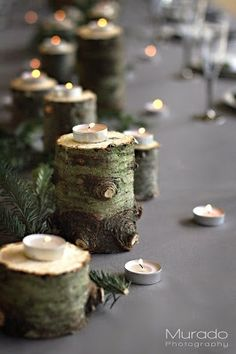 tealight candles displayed on cut branches for a rustic winter wedding tablescape Rustic Christmas, Christmas Time, Deco Champetre, Christmas Tree Branches, Christmas Lights, Wedding Decorations, Christmas Decorations, Deco Table, Holiday Tables