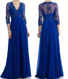 2014 Designer Floor Length Royal Blue Mother of the Bride Dresses V Neck 3/4 Long Sleeve Empire Waist Beaded Chiffon Long Party Gown