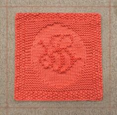 hand knit dishcloth, bumble bee, 100% cotton, hand knitted dish cloth, hand knit washcloth, hand knitted wash cloth, orange, knit dish cloth - pinned by pin4etsy.com