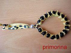 Pulsera con cinta de leopardo y cierre de bolita (sin lazo)