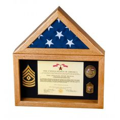 The Flag Display Case Series includes the best of both worlds, a combination flag case and a large shadow box to allow for the display of a grouping with the flag.Features of the include: Large Shadow Box, Shadow Box Display Case, Flag Display Case, Wood Shadow Box, Royal Blue Walls, Eagle Scout Ceremony, Military Shadow Box, Flag Colors, Golden Oak