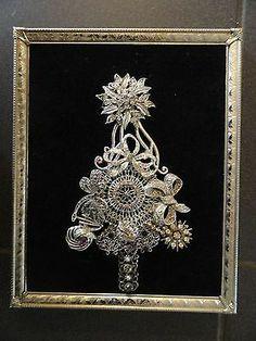 Sparkling silver vintage rhinestone jewelry framed Christmas tree art on ebay