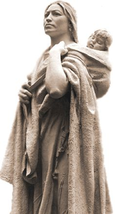 Sacagawea A near legendary figure in the history of the American West for her indispensable role as an interpreter and guide on the Lewis and Clark Expedition aka Corps of Discovery. At 15 (during the expedition) she gave birth to her son (Jean Baptiste Charbonneau). Sacagawea traveled 5,000 miles (10,000 km) with her infant son from North Dakota to the Pacific Ocean between 1804 and 1806.