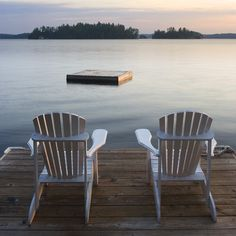 Muskoka Chairs on Lake Rosseau  Early morning at a cottage in Port Carling.