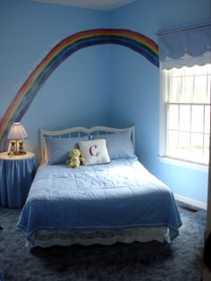 Wizard Of Oz Dorothy Kids Bedroom, Sky Blue Walls Rainbow Mural With Light  Reflecting Pearl