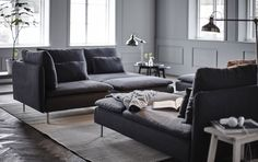 IKEA – Bring more living to your living room with some of our favorite modular sofa set-ups using the SÖDERHAMN sofa. Söderhamn Sofa, Sofa Set, Living Room Sofa, Living Spaces, Living Rooms, Ikea Soderhamn, Ikea Sofas, Ikea Couch, Grey Corner Sofa