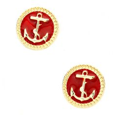 Joji Boutique - red anchor post earrings