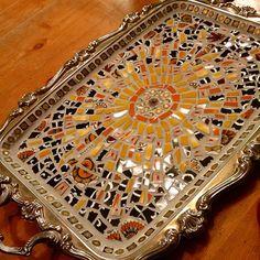 New life for an old silver tray! #sunonaplatter #mosaicart #mosaics #mosaik…