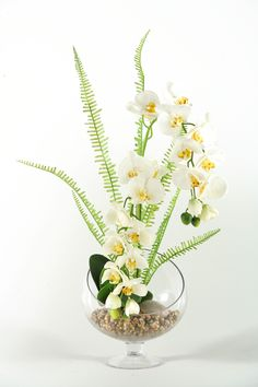 Weeping Phael Orchids in Open Sphere Pedestal Glass