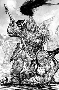 "Copyright Games Workshop PLC Black and white artwork for Horus Heresy novel ""Master of Mankind"", these are always fun to do. Warhammer 40k Art, Warhammer Fantasy, Warhammer Models, Matte Painting, Sisters Of Silence, Legio Custodes, The Horus Heresy, Science Fiction, Black And White Artwork"
