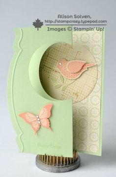 handmade card ... thinlits flip card ... luv the pastel green and peache ... two-step bird on a circle ... great card ... Stampin'Up!