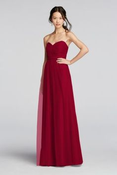 Ball gowns aren't just for brides! This long strapless tulle bridesmaid dress is pretty and polished with a knotted sweetheart neckline and removable belt. Removable belt gathers gown for an empire waisted look. Tulle adds flow and volume to the skirt. Also available in Extra Length as Style 4XLW10888. Fully lined. Back zip. Imported polyester. Dry clean only. To protect your dress, try our Non Woven Garment Bag.