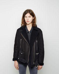 ACNE STUDIOS | More Shearling Moto Jacket | Shop at La Garçonne
