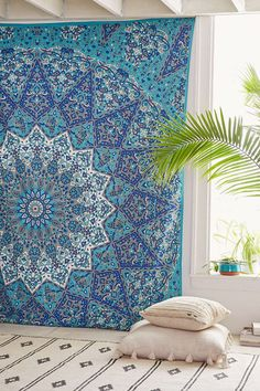 Bohemian Blue Green Wall Tapestry