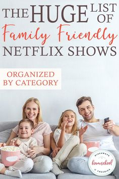 The HUGE List of Family Friendly Netflix Shows Several years ago we cut the cable cord. Now we only have the movies we own and Netflix. My children love finding new movies and shows to watch. Here are some of our current favorites - listed by category. Netflix Movies, Shows On Netflix, New Movies, Movies To Watch, Netflix Hacks, Netflix List, Family Show, Family Life, Friends Family