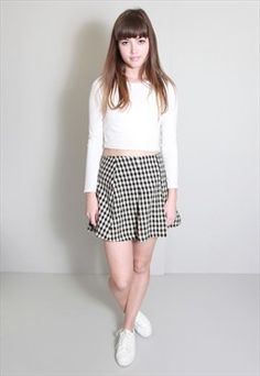 Vintage 1980's Black And Cream Checked Mini Skirt