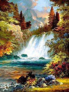 водопад - Схемы вышивки - issa13 - Авторы - Портал «Вышивка крестом»