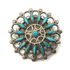 Zuni Wagon Wheel Pin w/ Needlepoint Turquoise #jewelry #pin
