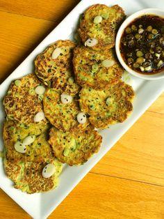 Zucchini Scallion Pancakes with Sweet Soy Dipping Sauce #zucchini #pancakes #sidedish