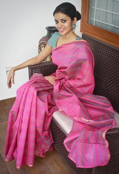 Rs. 2250 PInk striped chanderi silk saree Blouse fabric- Blue and pink semi silk If sold, orders can be taken for more pieces