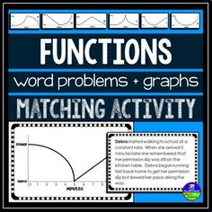 Functions. This functions activity for Algebra of Algebra 2 asks students to match linear and nonlinear function graphs to short stories that describe the graphs.  Each story describes a walk between home and school at a mixture of constant and nonconstant rates.