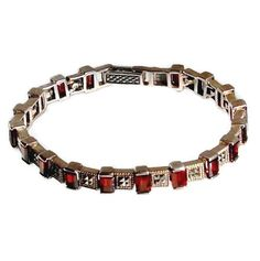 Garnet, Marcasite & Sterling Panel Bracelet Vintage Jewelry Accessories Geometric Baguette Garnets, Pyramid Marcasite Art Deco Style