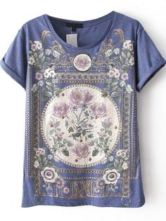 Blue Short Sleeve Floral top - Sheinside.com