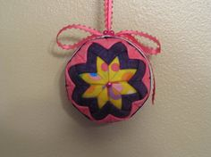 Quilted no sew fabric Birthday ornament ball  by KCFabricOrnaments, $12.00