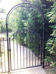 Wrought Iron Walk Gate and Arbor Garden Gates And Fencing, Garden Arbor, Garden Fun, Fence Gate, Garden Ideas, Wrought Iron Patio Chairs, Wrought Iron Fences, Metal Arbor, Fenced Vegetable Garden
