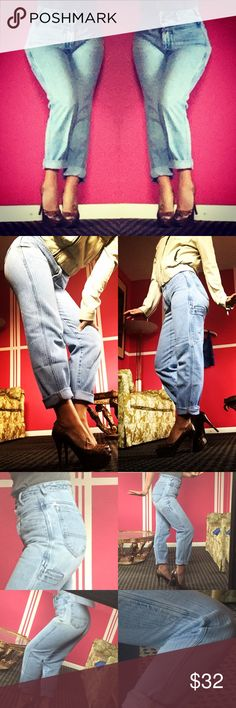 """VTG early 90's Hugh WAISTED skinny Girbaud jeans Make sure you are a 0! Or 00! These are so amazing! In great shape for being 24 years old! Small hole by the back pocket left top. They have age to them- this makes them look cooler-- they look even better in person! Waist 24"""" hips 34"""" rise from middle is 12"""" inseam is 29.5"""". Slight discoloration on the right hip that the camera wouldn't even pickup. Tag says 3/4 but please go by measurements. Thanks! Vintage Jeans Skinny"""