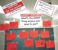 Question of the Moment in the library display. Students and staff answer on sticky notes. How about LITERARY questions? Neat idea.