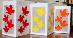 DIY Fall Leaf Paper Lanterns made with a Cricut - Syksyn käsityöt - Paper Vellum Paper, Diy Paper, Paper Crafts, Paper Lantern Making, Paper Lanterns, Board Decoration, Changing Leaves, Paper Leaves, Tea Candles