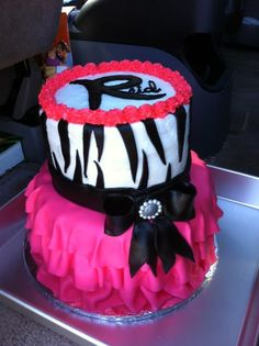 Bridal Shower. Pink, Fuchsia, and Zebra. Hot pink zebra cake