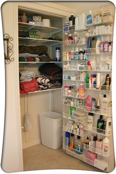 Small bathroom: turn hallway Closet in storage by hanging baskets to the back of the door to hold all of your bottles.