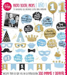 Photo Booth Cumple 1 Año Nene Glitter Imprimible Props 1er año niño de DeJuerga en Etsy Photo Booth Props, Kids Rugs, Kit, Etsy, Roman, Products, Ideas, 1 Year, Cute Family