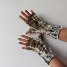 Felted Mittens fingerless gloves  -  brown beige wool locks. $37.00, via Etsy.