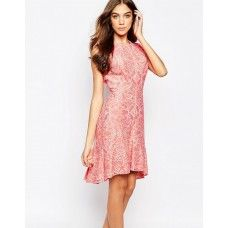 BCBGMAXAZRIA Fit and Flare Dress in Burnout Lace