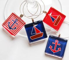 Sailing Nautical Wine Glass Charms Wine Charms by KellysMagnets, $15.00