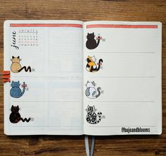 """Ready for the week! Which day of the week kitty is your favorite? Inspired by Bethany Lesko's """"Helveticat"""" alphabet print I found… August Bullet Journal Cover, Bullet Journal Weekly Layout, Bullet Journal Monthly Spread, Bullet Journal Aesthetic, Bullet Journal Themes, Bullet Journal Tracker, Bullet Journal Notebook, Bullet Journal Inspo, Junk Journal"""