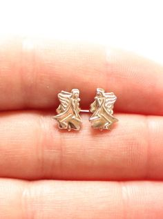 AVON Signed STERLING SILVER 925 Angel Earrings by paststore on Etsy