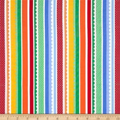 Michael Miller Funfair Carnival Stripe Primary from @fabricdotcom  Designed by Michael Miller, this cotton print fabric is perfect for quilting, apparel and home decor accents. Stripes run parallel to the selvage. Colors include red, orange, yellow, green, blue, and white.
