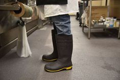Tackle the toughest work conditions with a work boot that won't let you down. The Torque Pro is a 16 inch steel toe work boot engineered for your safety and comfort, thanks to a design that is slip-resistant, waterproof, clog-resistant, and electrical hazard (EH) rated.   Additionally, the SEBS upper is made of premium material that is lighter than PVC or PU. Slip Resistant: Superior SFC slip-resistant outsole. Waterproof: Designed with elements to keep your foot dry. Waterproof Steel Toe Boots, Steel Toe Work Boots, Ladies Slips, Grey Yellow, New Shoes, Lighter, Rubber Rain Boots, Clogs, Safety