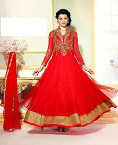 Buy Beauteous Red Anarkali Salwar Kameez online at  https://www.a1designerwear.com/beauteous-red-anarkali-salwar-kameez-2  Price: $62.73 USD